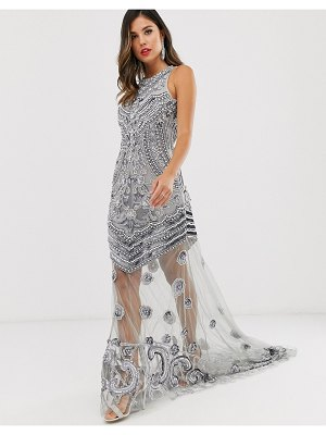 A Star Is Born high neck embellished maxi dress in silver