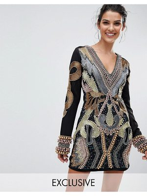 A Star Is Born Longsleeved Mini Dress with Allover Embellishment