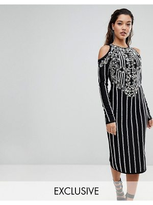 A Star Is Born Midi Dress In Jersey With Embellishment And Cold Shoulder Detail
