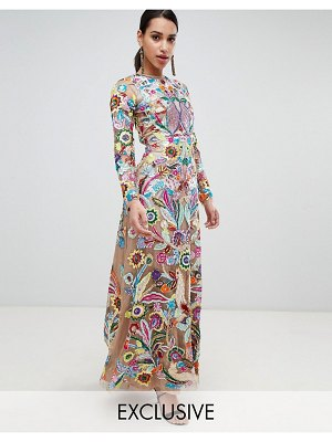 A Star Is Born premium allover embroidered maxi dress