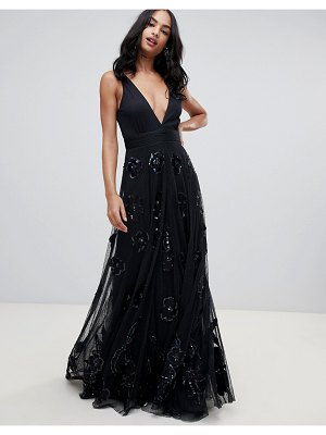 A Star Is Born prom maxi dress with plunge front in black