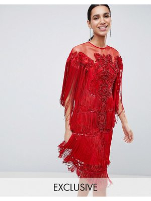 A Star Is Born tassel midi dress with all over sequins