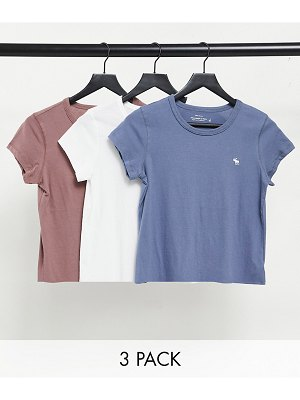 Abercrombie & Fitch 3 pack crew neck t-shirt in multi