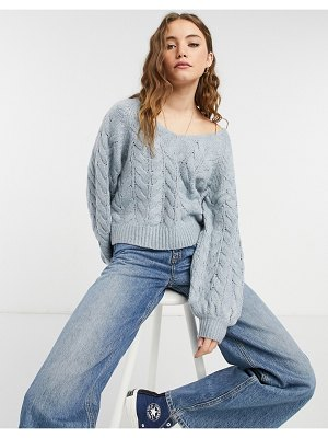 Abercrombie & Fitch cable knit boat neck sweater in light blue-blues