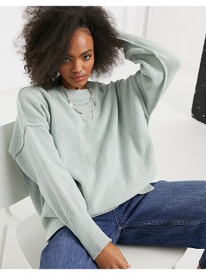 Abercrombie & Fitch mock neck long sleeve sweater in green