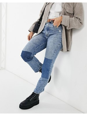 Abercrombie & Fitch patchwork jeans in mid wash-blues