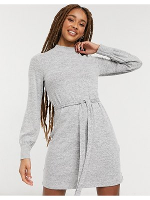 Abercrombie & Fitch puff sleeve slim dress in gray-grey