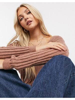 Abercrombie & Fitch v neck light weight knit sweater in tan-brown