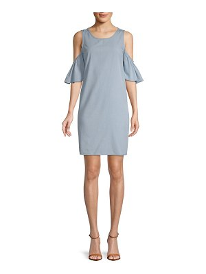 ABS by Allen Schwartz Elbow-Sleeve Cold-Shoulder Dress