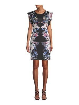 ABS by Allen Schwartz Floral Flutter-Sleeve Dress
