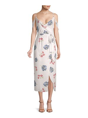 ABS by Allen Schwartz Printed Cold-Shoulder Midi Dress