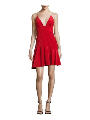ABS by Allen Schwartz Velvet Ruffle Hem Dress