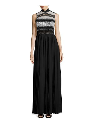 ABS by Allen Schwartz Mixed-Media Pleated Gown