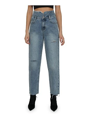 Absence of Colour fizzy ripped high waist raw hem jeans