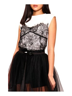 Absence of Colour piita lace overlay t-shirt