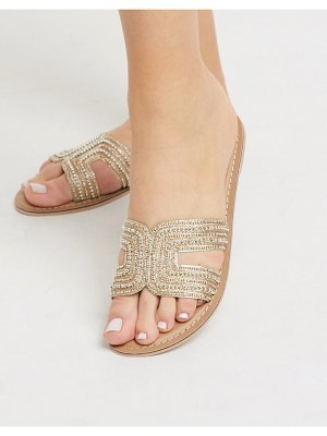 Accessorize bella beaded flat sandals in gold
