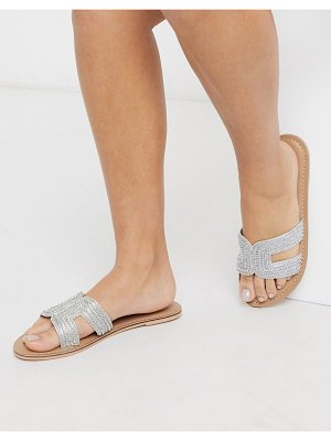 Accessorize bella beaded flat sandals in silver