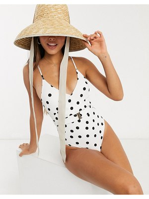 Accessorize belted swimsuit in white and black polka dot-multi