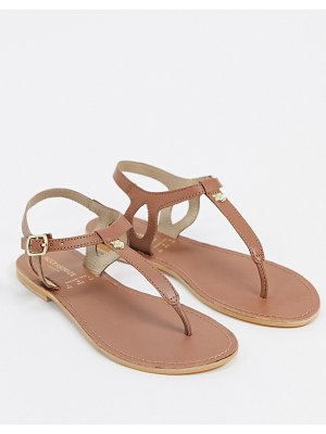 Accessorize leather t-bar flat sandals in tan