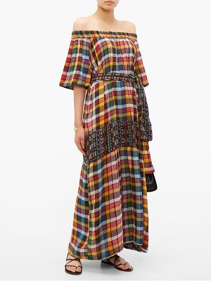 ace & jig casa off the shoulder checked cotton maxi dress