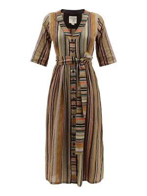 ace & jig leelee belted striped-cotton midi dress