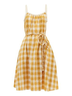 ace & jig noelle checked tie waist cotton dress
