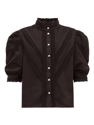 Àcheval Pampa yegula pintuck lace trim high neck blouse