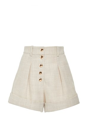 Acler kings pleated stretch-cotton mini shorts