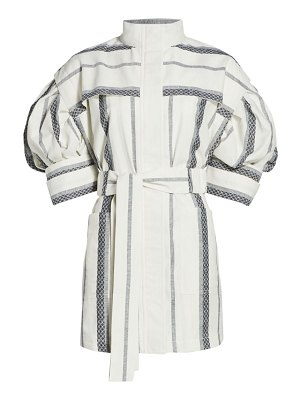 Acler kingsway belted puff-sleeve cotton dress