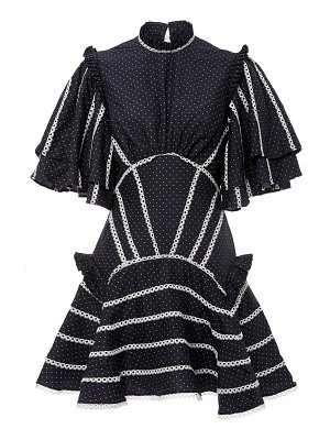 Acler perry ruffled lace-trimmed poplin mini dress