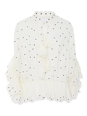 Acler spencer embroidered broadcloth top