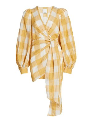 Acler sutherland checkered wrap dress