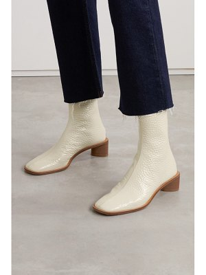 Acne Studios bertine textured patent-leather ankle boots - off-white