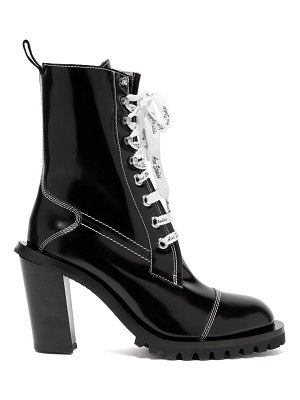 Acne Studios Block Heel Topstitched Leather Ankle Boots