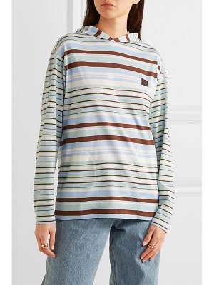 Acne Studios emest face appliquéd striped cotton-jersey hoodie