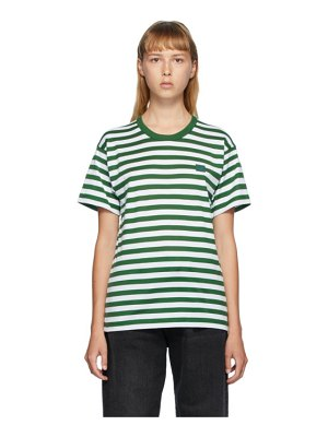 Acne Studios green and white classic fit striped t-shirt