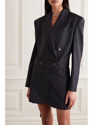 Acne Studios cropped double-breasted pinstriped wool blazer