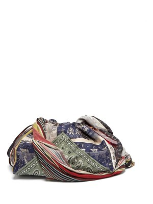Acne Studios patchwork printed twill and silk shoulder bag