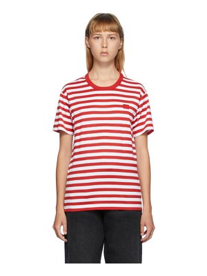 Acne Studios red and white classic fit striped t-shirt