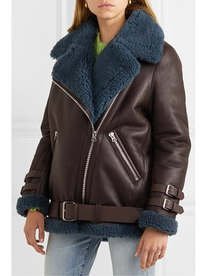 Acne Studios velocite two-tone shearling-trimmed leather biker jacket