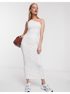 ACOLÉ acole one shoulder midi dress in cream-white