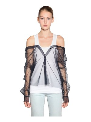 ACT N°1 Cotton tank top w/ tulle shirt