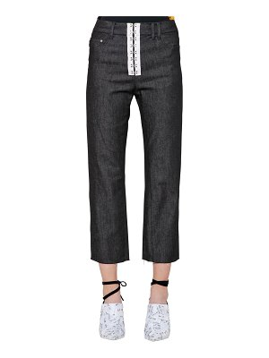 ACT N°1 Mid rise cropped brocade & denim jeans