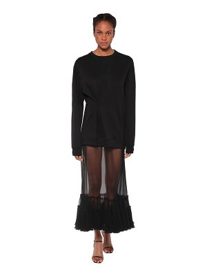ACT N°1 Tulle embellished cotton sweat dress