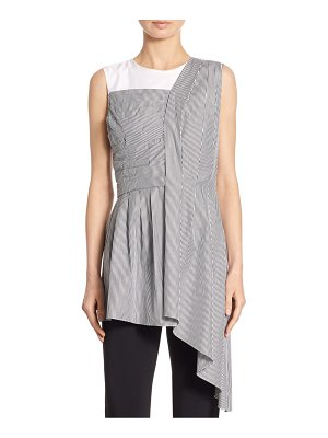 Adam Lippes Asymmetric Cotton Striped Top