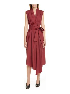 Adam Lippes belted asymmetrical voile midi dress