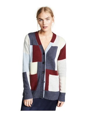 Adam Lippes brushed cashmere knit patchwork cardigan