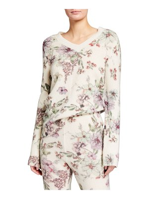 Adam Lippes Cashmere-Silk Floral Printed V-Neck Sweater