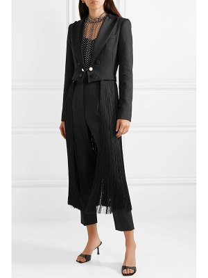 Adam Lippes convertible cropped fringed satin-trimmed twill blazer