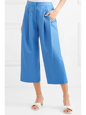 Adam Lippes cropped pleated wool-blend gabardine culottes